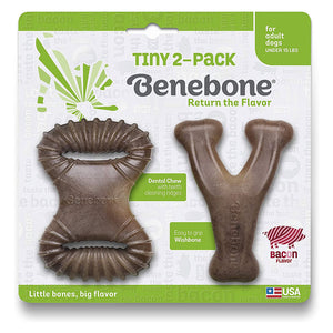 Benebone Tiny Dogs Dental & Wishbone 2-Pack Dog Toy -  Bacon Flavor