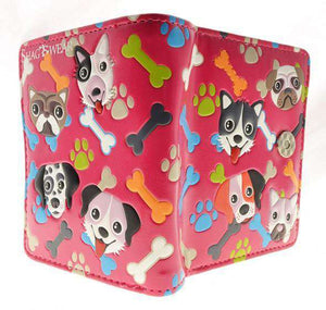 ShagWear - Small Faux Leather Wallet - Puppies, Bones, and Paw Prints