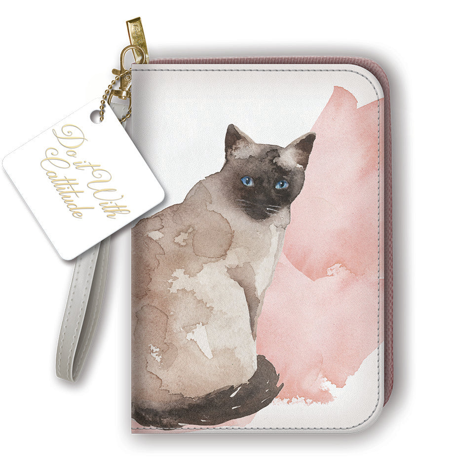 Beautiful Artistic Painted Cats - Clutch Zipper Wallet & Journal