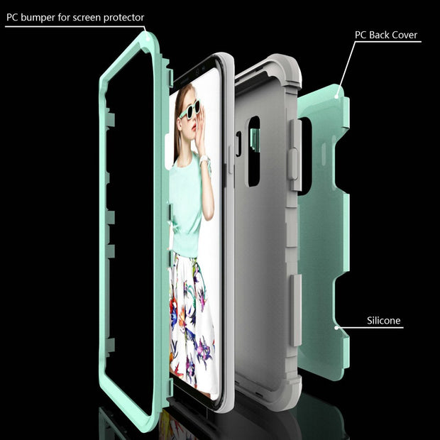 1pcs Heavy Duty Robert Hybrid Detachable Armor Anti-knock Hard Case For Samsung Galaxy Note 8 Note 9 S9 S9 Plus