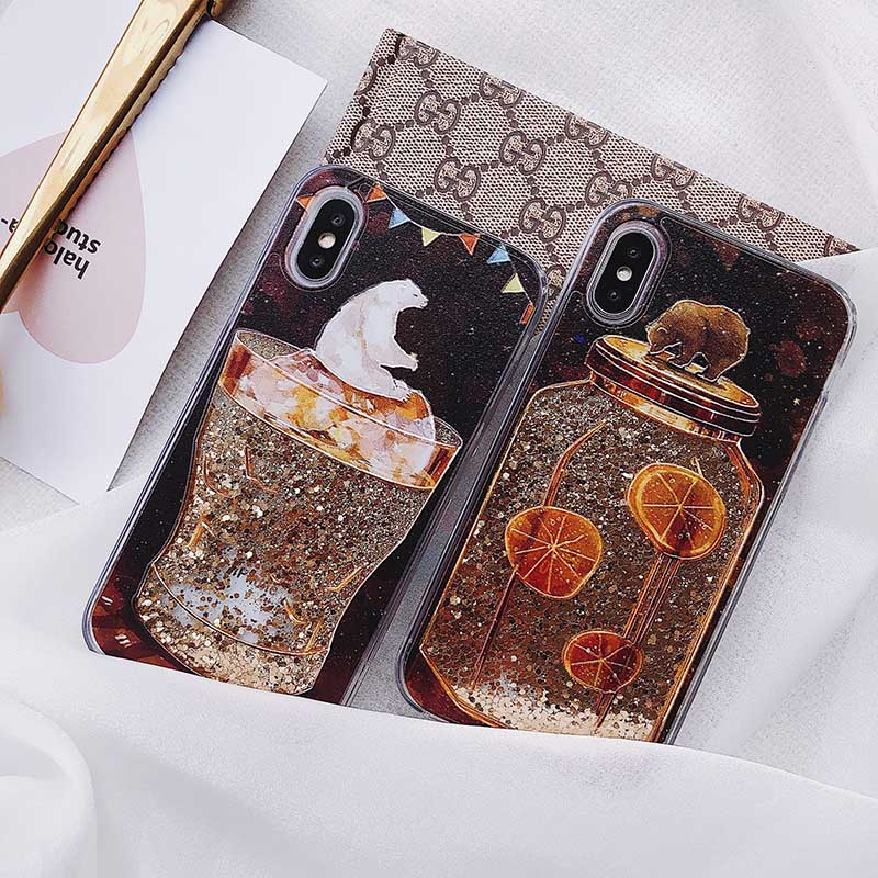 2 Bears Winebowl Style For IPhone 6 6S Plus Case Luxury Dynamic Liquid Glitter Quicksand Case For Iphone 7 8 Plus X Back Cover