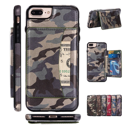 2017 New Fashion Camouflage Outdoor Leather Case For IPhone 7 7 Plus 6 6S Plus Cases Cover Fundas With Card Slots Wallet Stands