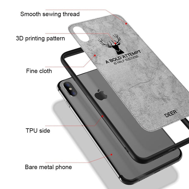 2pcs/lot Cloth Relief Deer Soft TPU Cover For Iphone 6 6s Plus Iphone XS Max Fabric Case For Iphone 7 8 Plus Iphone 8 XR X Case