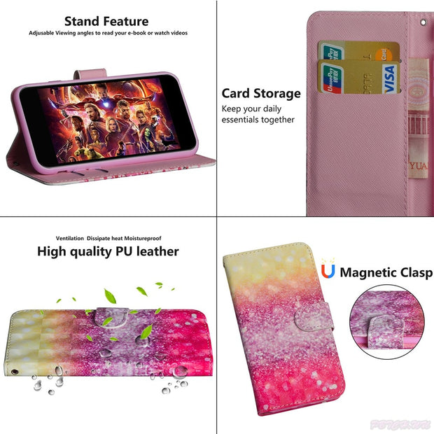 3D Painted Case For Huawei Honor 7C Pro LND-L29 Mobile Phone PU Leather Flip Wallet Cove For Huawei Honor7C Pro LND L29 Box Capa