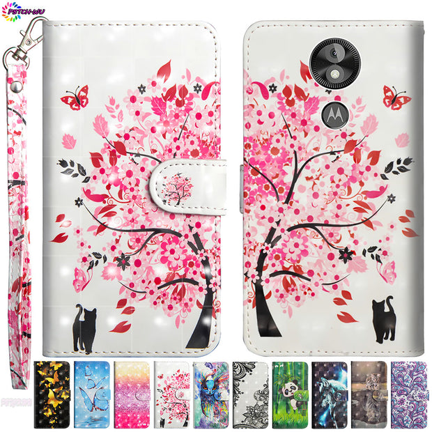 3D Painted Case For Motorola Moto E5 Play Go XT1920-15 Phone Leather Flip Wallet Cove For Moto XT1920-16 XT1920-18 XT1920-19 Box