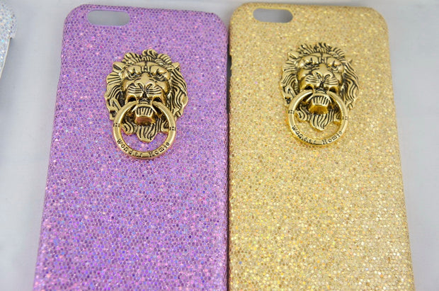 3D Lion Head Metal Finger Ring Holder Kickstand Glitter Flannel Case Cover Back For Iphone 5s 6s 7 8 6plus Iphone X Vintage Caja