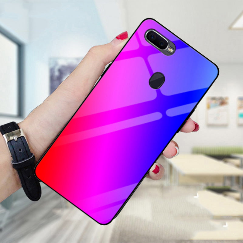 "6.3"" For OPPO F9 Case Gradient Tempered Glass Case For OPPO F 9 Phone Cases OPPOF9 Shell For OPPO F9 Slim Protective Back Cover"