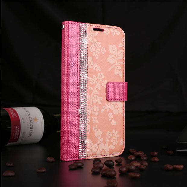 BELIAL Wallet For IPhone X Case Bling Diamond Leather Flip Cover For IPhone 5 5s SE 6 6s 7 8 Plus Case Silicone Soft TPU Flower