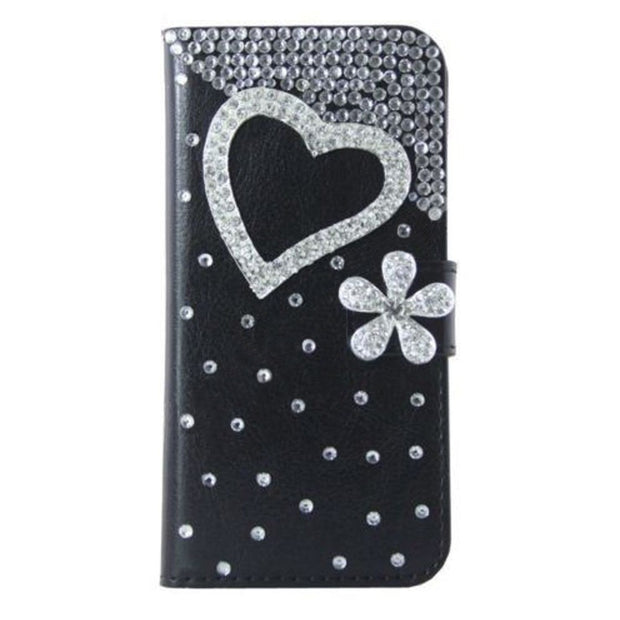 Bling Rhinestone Protective Cases For LG K8 2018, Flip Leather Wallet Case Cover With Card Slot Phone Bag Purse Diamond