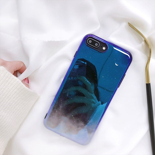 Blu-ray Starry Sky Cute Crescent Case For IPhone7 Plus 6s Plus TUP Soft Cover For IPhone X/6/8 Different Angles Special Effect