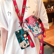 Blue-ray Phone Case For IPhone X XR XS Max 8 7 6 6s Plus Soft Cover With Mickey Minnie Pattern Kickstand Doll With Phone Lanyard