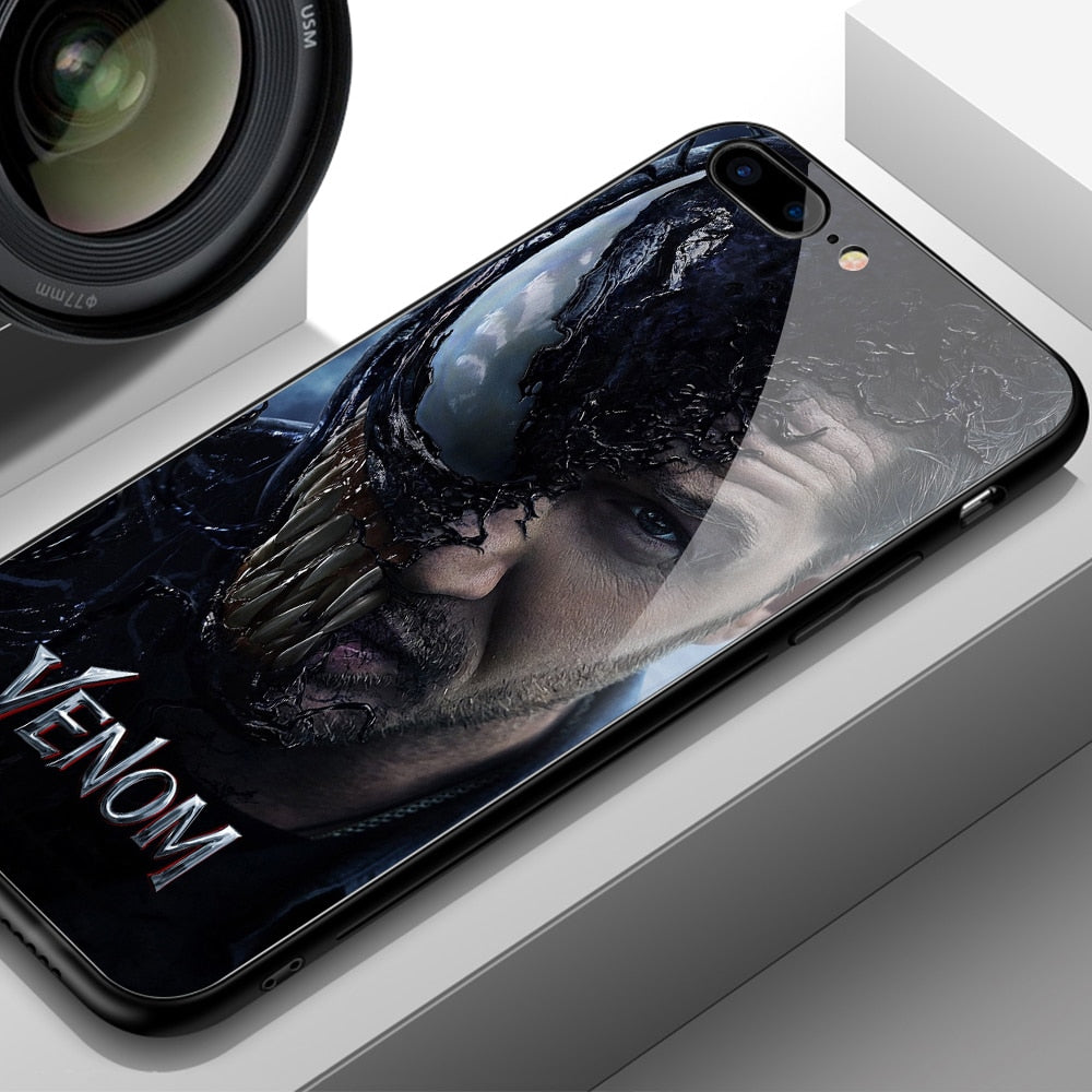 Brand New Case For IPhone 7 Tempered Glass Case Marvel Venom Patterned Hard Back Cover For IPhone 6 6S 7 8 Plus X XR XS MAX Case