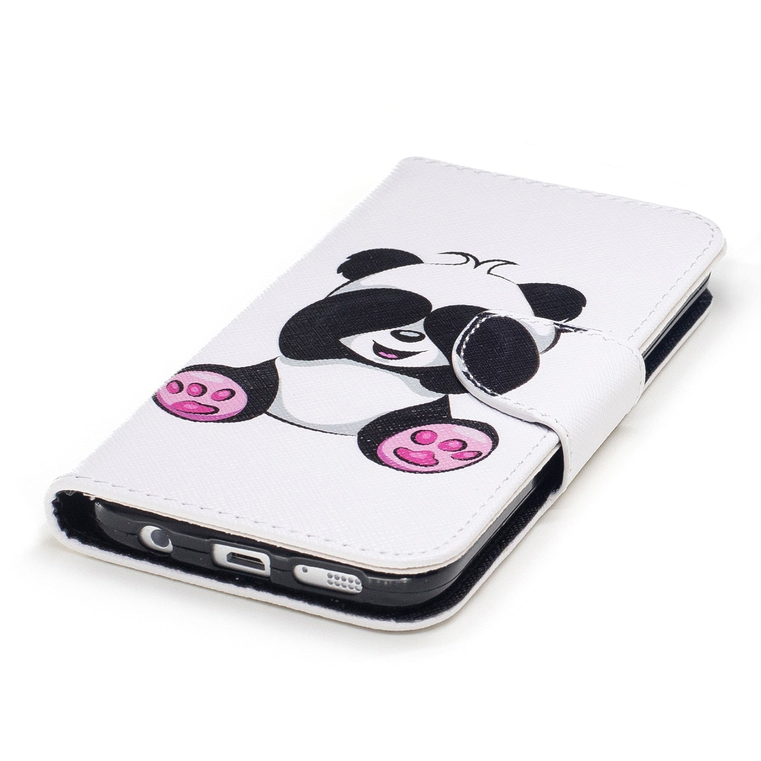 Butterfly Flower Panda Flip Case For Samsung Galaxy S6 S7 Edge S8 Plus J3 J5 J7 A3 A5 PU Leather Wallet Case Stand Phone Cover