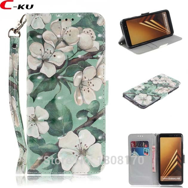 C-Ku 3D Flower Wallet Leather Case For Samsung Galaxy A8 A6 Plus 2018 J3 J4 J6 J8 J330 J530 J730 S8 S9 Skin Stand Cover 1pcs