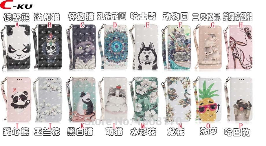 C-Ku 3D Flower Zoo Park Wallet Leather Case For Iphone X 8 7 6 6S Plus For Huawei P20 Pro Y9 2018 P Smart Stand Skin Cover 1pcs
