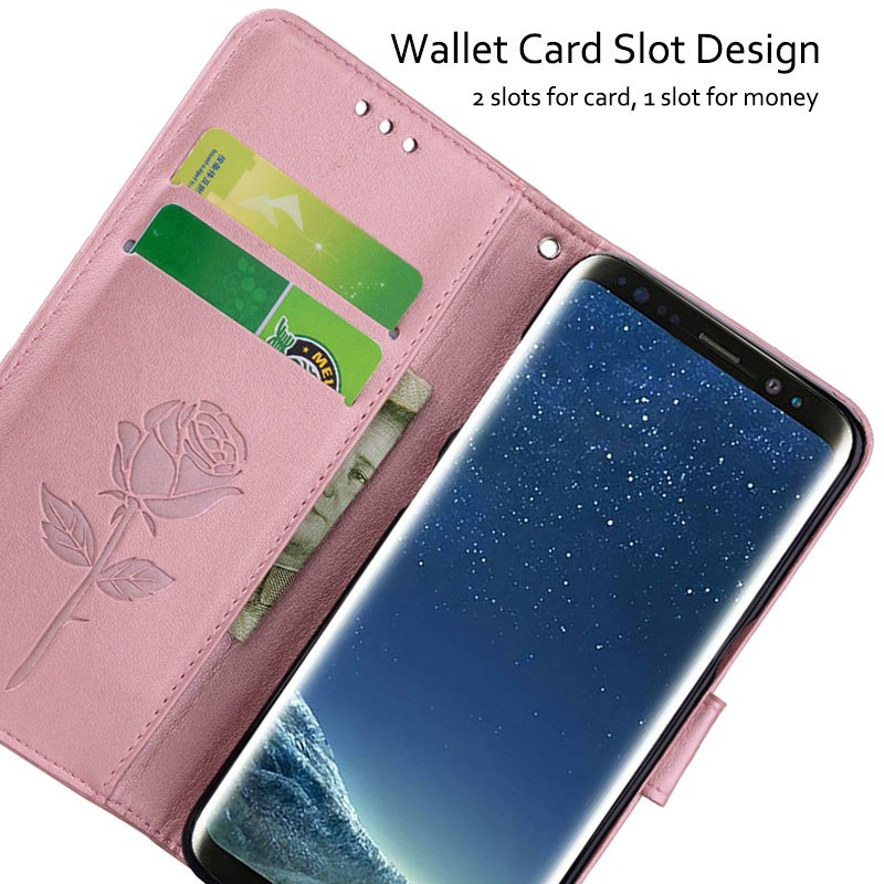 CHOEOIWE Shockproof Covers For Samsung Galaxy S8 S8 Plus Case Rose Flower Pattern Vintage Full Cover Leather Wallet Flip Capa