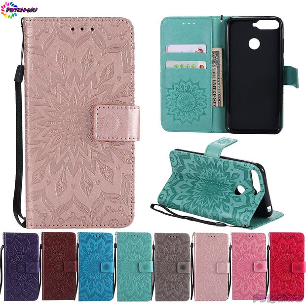 "Case Cover For Huawei Honor 7C AUM-L41 Honor7C 5.7"" Wallet Flip Phone PU Leather Coque For Huawei Honor C7 7 C AUM L41 Box Capa"