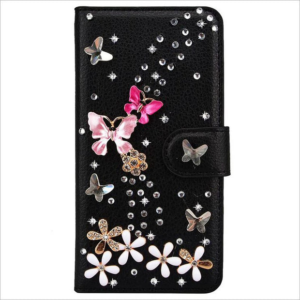 Case For NOKIA, Book Wallet Cover For Nokia Series , Rhinestone Bling Diamond Flip Leather Wallet Stand Cover