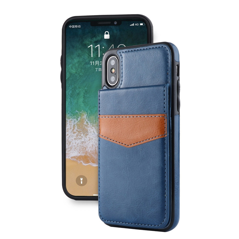 Case For Iphone X 6 6s 7 8 Crazy Horse Wallet Bracket Mobile Phone Holster For Iphone 7 Plus 6plus Card Pocket Anti Knock Bag