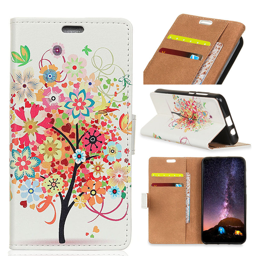 Colorful Fruit Trees PU Leather Flip Cover Magnetic Snap Wallet Card Money Slot Case For Samsung Galaxy A8 Feel 2 LTE JP SC-02L