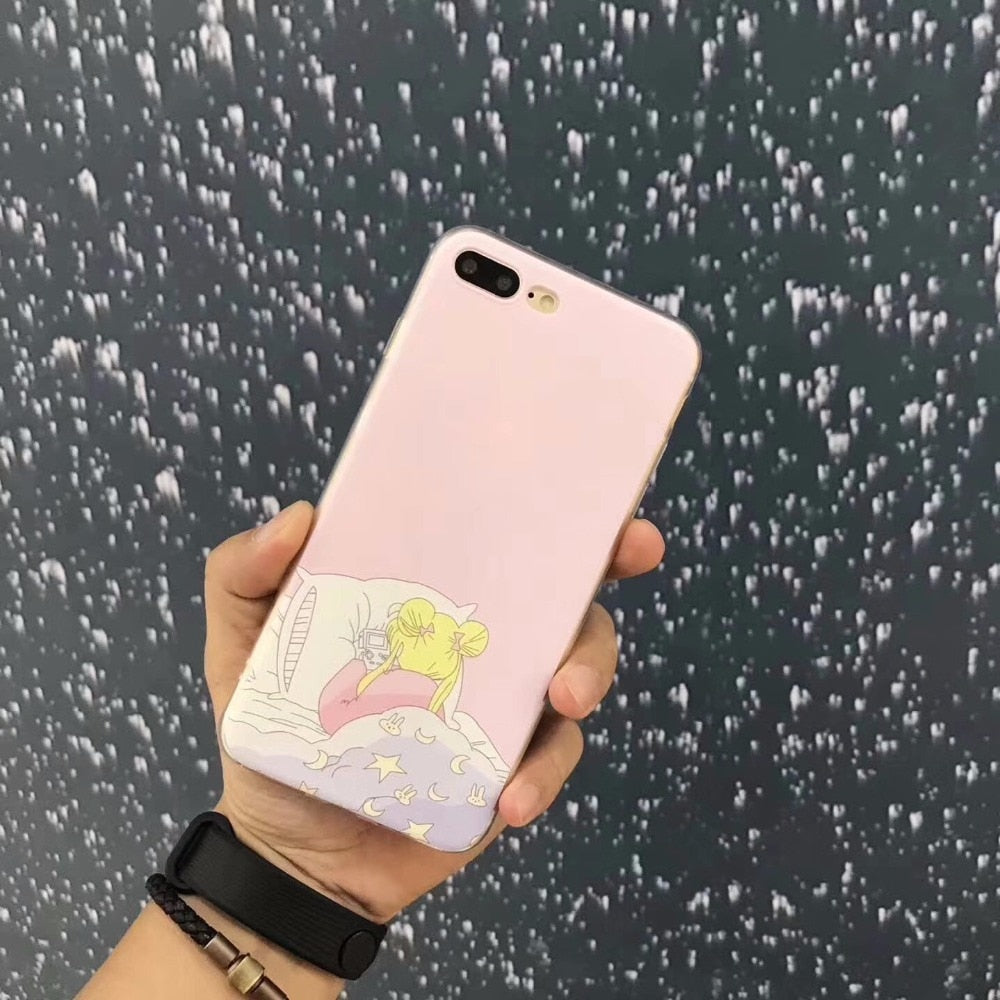 Cool Street Fashion Cute Cartoon Soft Pink Slim Back Cover Cosplay For Iphone X 8 8 PLUS 7 7 PLUS 6 6S PLUS Nice Phone Case