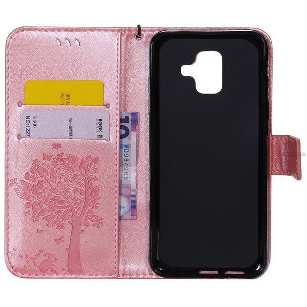 Coque For Samsung Galaxy A6 2018 A600 SM-A600FN SM-A600FN/DS Wallet Flip Phone Leather Case Cover A600G SM-A600 SM-A600F/DS Box