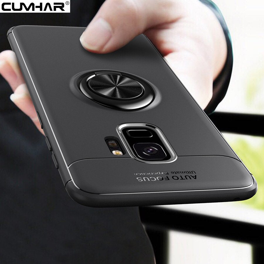 Cumhar For Samsung S9 Plus Case Soft TPU Metal Finger Ring Holder For Galaxy S8 Plus Case S7 Edge Cover Simple Silicon S9Plus