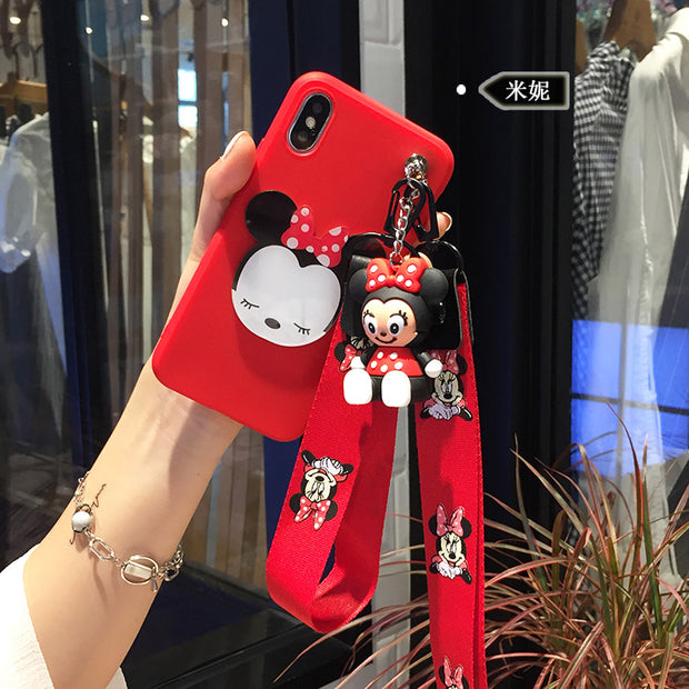 Cute 3D Minnie Phone Back Cover For Samsung S6 Edge/S7 Edge/S8/S9/S9 Plus Phone Bag+ Toy Stander+2 Strap