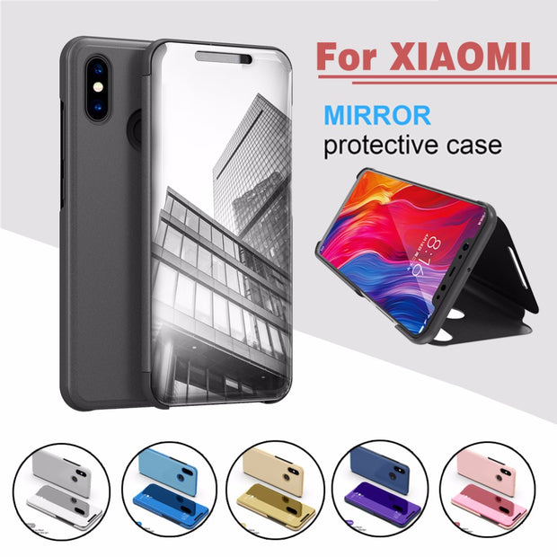 Display Time View Cover Smart Cover Phone Case Card Bag For XIAOMI 8 ES 6X 6 5C Note 3 5 Slim Flip Smart Clear Mirror For Hongmi