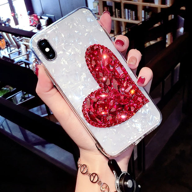 Dream Shell Pattern Phone Case For IPhone 7 8 Plus Glitter Diamond Cases For IPhone XR XS Max 7 6 6S Plus Soft Silicone Cover