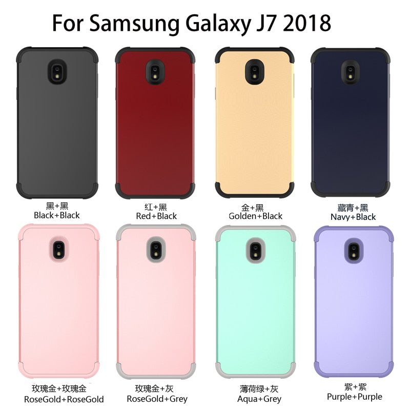 "Dual Layer PC+Silicon Shock Resistant Mobile Phone Case For Samsung Galaxy J7(2018) 5.5"" Contrast Color Design 3-in-1 Phone Case"