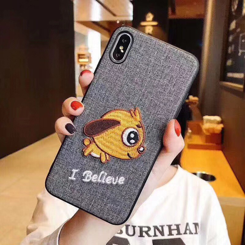 Embroidery 3D Phone Case For Iphone 7 8 7Plus Animal Pets Phone Cases For IPhone X XR XS MAX 6 6s Plus