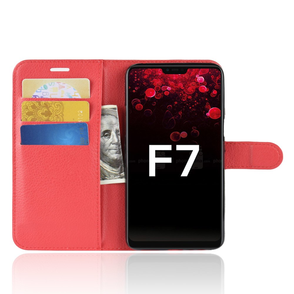 F7 Case For OPPO F7 Cover Wallet Card Stent Lichee Pattern Flip Leather Protect Cases Black Covers F 7 For OPPO-F7