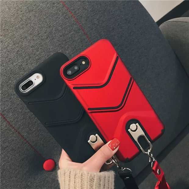 FHUIL Kickstand Phone Case With Lanyard For IPhone 6 6s 7 8 Plus X Cases Holder For IPhone X Fashion Retro Festiva Silicon Cover