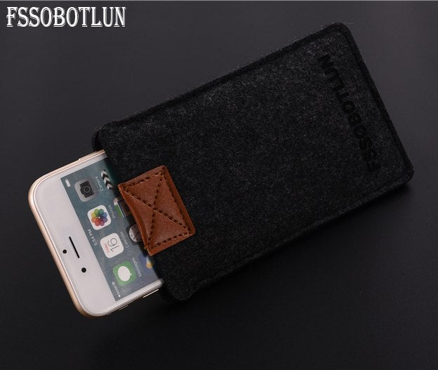 FSSOBOTLUN, 3 Colors,Handmade Wool Felt Sleeve Bag Pocket Pouch Phone Protector Case Cover For ZTE Blade V8 Pro 5.5""