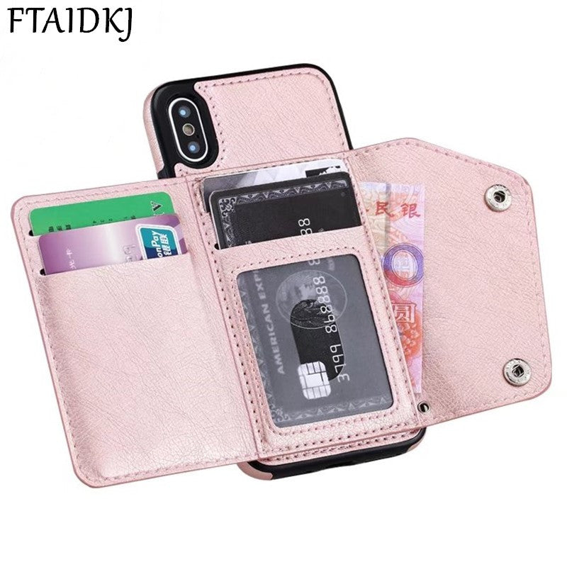 FTAIDKJ Wallet Flip PU Leather For IPhone XR Case 7 6 6S 8 Plus XS Max Card Pocket Cover For Samsung S8 S9 Plus Note 8 9 S7 Edge