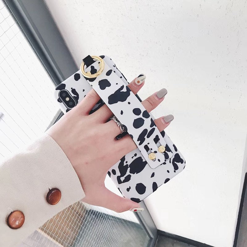 Fashion Milk Leopard Pattern Phone Case For IPhoneX 6 7 8 Plus Soft TPU Wrist Strap Back Cover For IPhone XS XR XSMAX