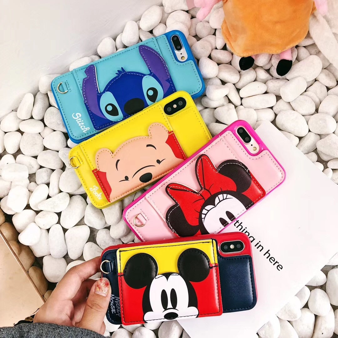 Fashion Cute Cartoon Anime Disneys Stich Mickey Minnie Pooh Case Cover For IPhone 6 6s 7 8 Plus X XR XS MAX Card Package Support