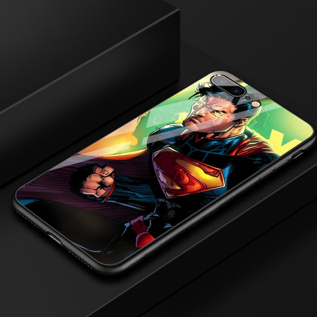 FinderCase Case For IPhone XR Tempered Glass Hard Back Superman Patterned Cover For IPhone 6 6S 7 8 Plus X XR XS MAX