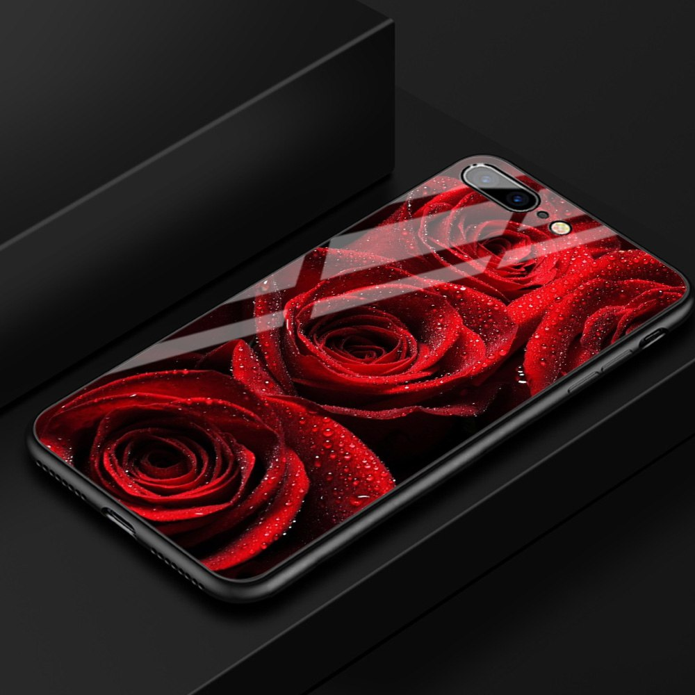 FinderCase For IPhone 6 Case Hard Back Cover Tempered Glass Red Rose Floral Case For IPhone 6 6S Plus 8 7 Plus X XR XS MAX