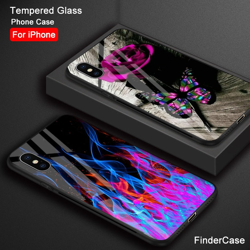 FinderCase For IPhone XS MAX Case Rose Unicorn Abstract Flames Tempered Glass Case For IPhone 6 6S 7 8 Plus X XR XS MAX