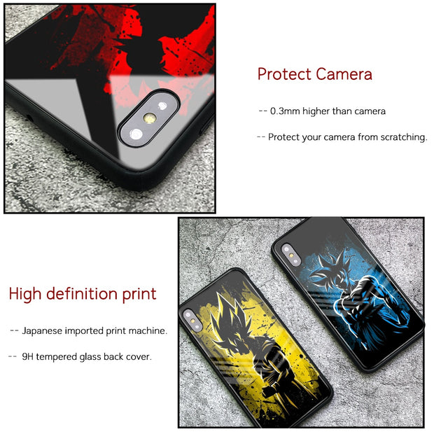 FinderCase For Iphone Xs Case Dragon Ball Z Son Goku Tempered Glass Back Cover Case For IPhone 6 6S 7 8 Plus X XR XS MAX