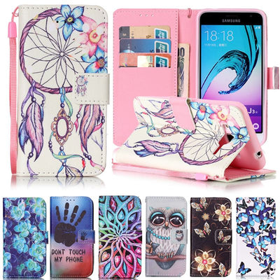 For Coque Samsung Galaxy J3 Case Leather Wallet Flip Cover Samsung Galaxy J3 6 2016 Cute Cartoon Wallet Phone Cases J320 J310