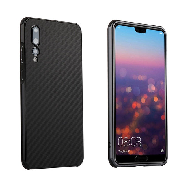 For Huawei P20 Pro Case Aluminum Metal Frame Bumper Carbon Fiber Hard PC Cover Case For Huawei P20 Pro Shockproof Capa Fundas