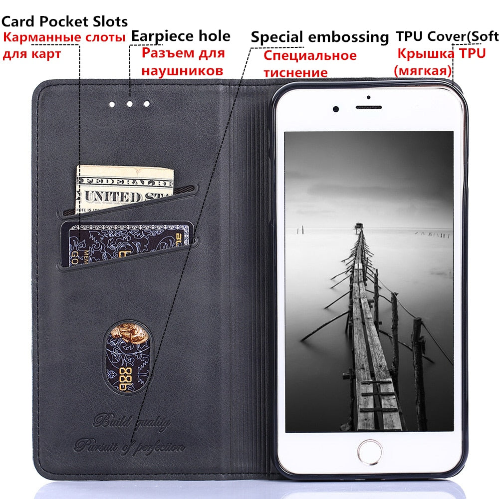 For Meizu 15 Lite Case Luxury PU Leather Flip Cover Stand Card Slot &Kickstand Phone Bag Cases For Meizu M15 15 Lite Plus Coque