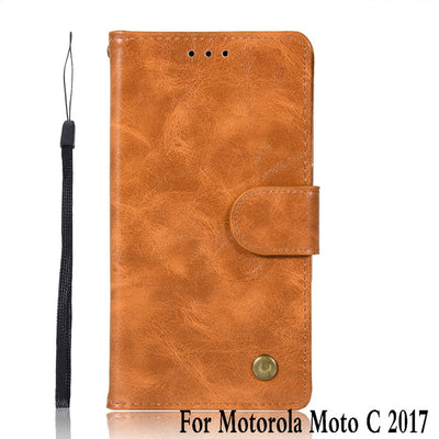 For Motorola Moto C 2017 Case Leather Silicon Vintage Stand Flip Genuine Phone Case For Motorola Moto C 2017 XT1750 XT1754 Cover