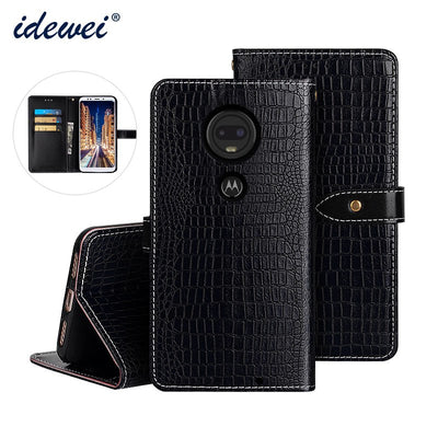 For Motorola Moto G7 Case Cover Luxury Leather Flip Case For Motorola Moto G7 Protective Phone Case Crocodile Grain
