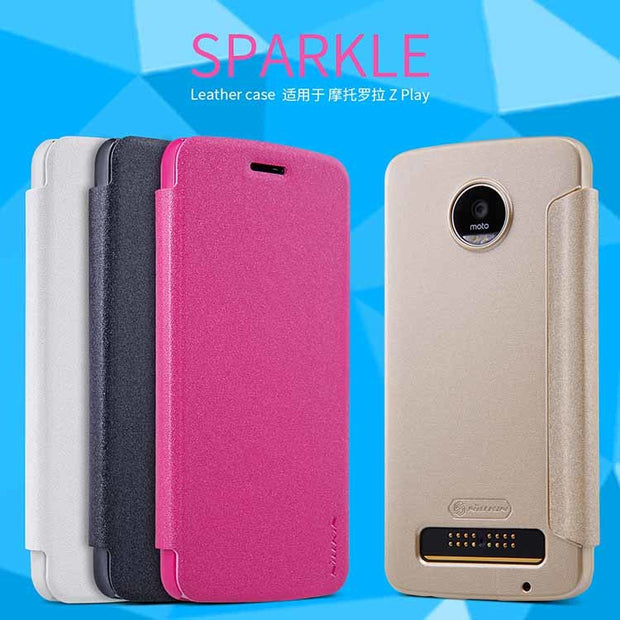 For Motorola Moto Z Play Case NILLKIN Sparkle Plastic PU Flip Leather For Motorola Moto Z Force Case 5.5inch Protective Cover
