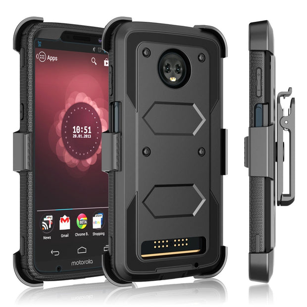 For Motorola Moto Z3 / Moto Z3 Play Case Heavy Duty Hybrid Rugged Case With Belt Clip Holster Stand Shockproof Protective Cover