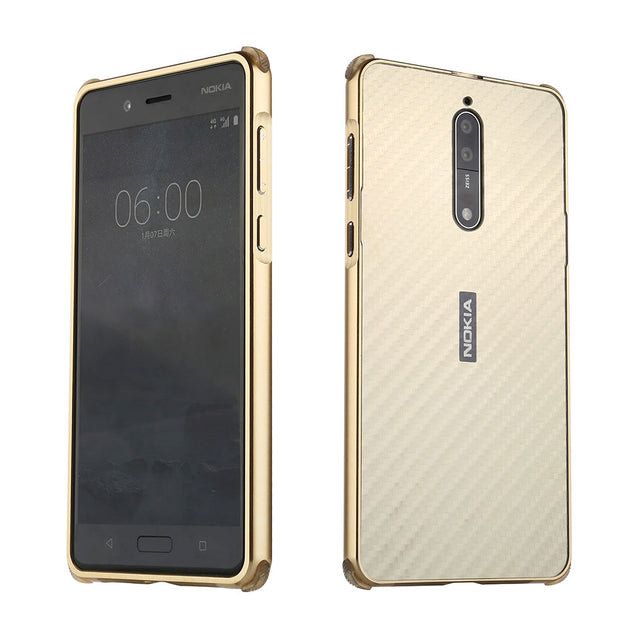 For Nokia 8 Case Aluminum Metal Frame+Carbon Fiber Hard Back Cover Case For Nokia 8 Shockproof Phone Shell